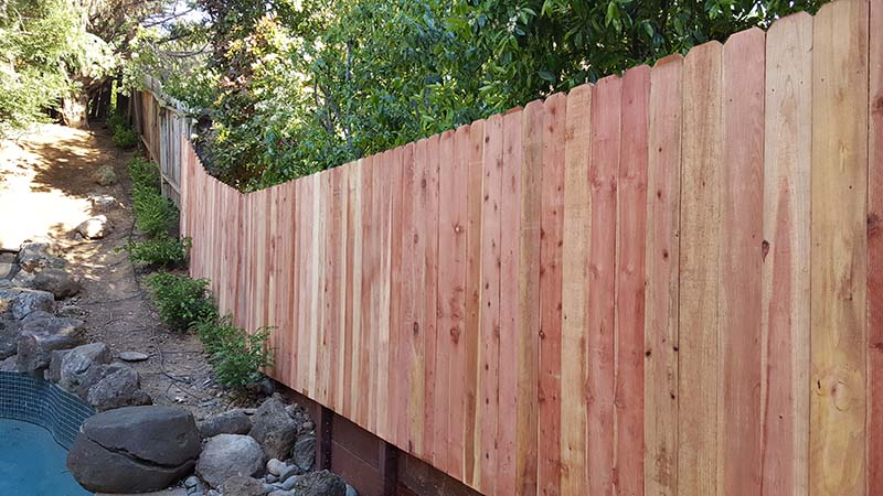 Redwood Dog Ear Fence  with Retaining Wall – 1