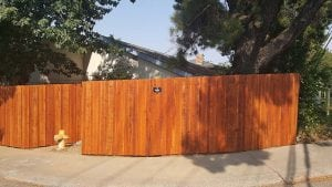 Redwood Dog Ear Board on Board Fence (Stained) – 1