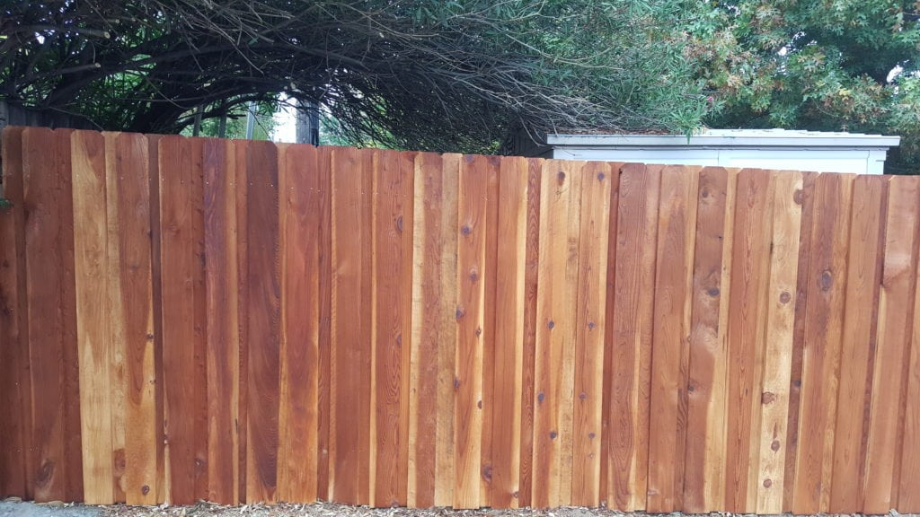 Redwood Dog Ear Board on Board Fence (Stained) – 2
