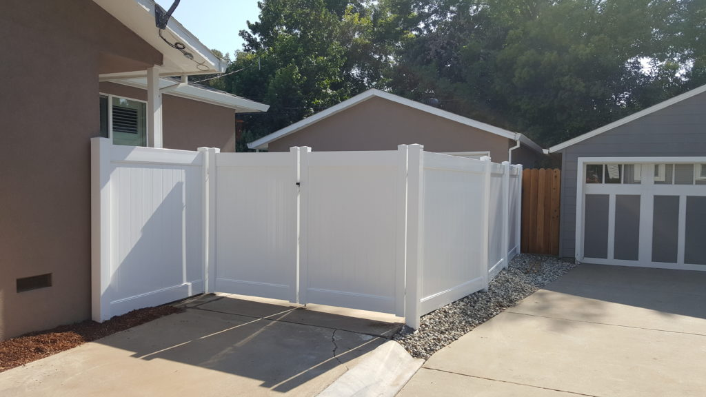 White Vinyl Fence with Double Gate