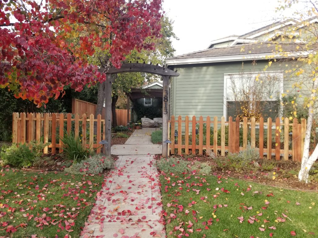 1×4 Custom Redwood Picket Fence – Davis, CA