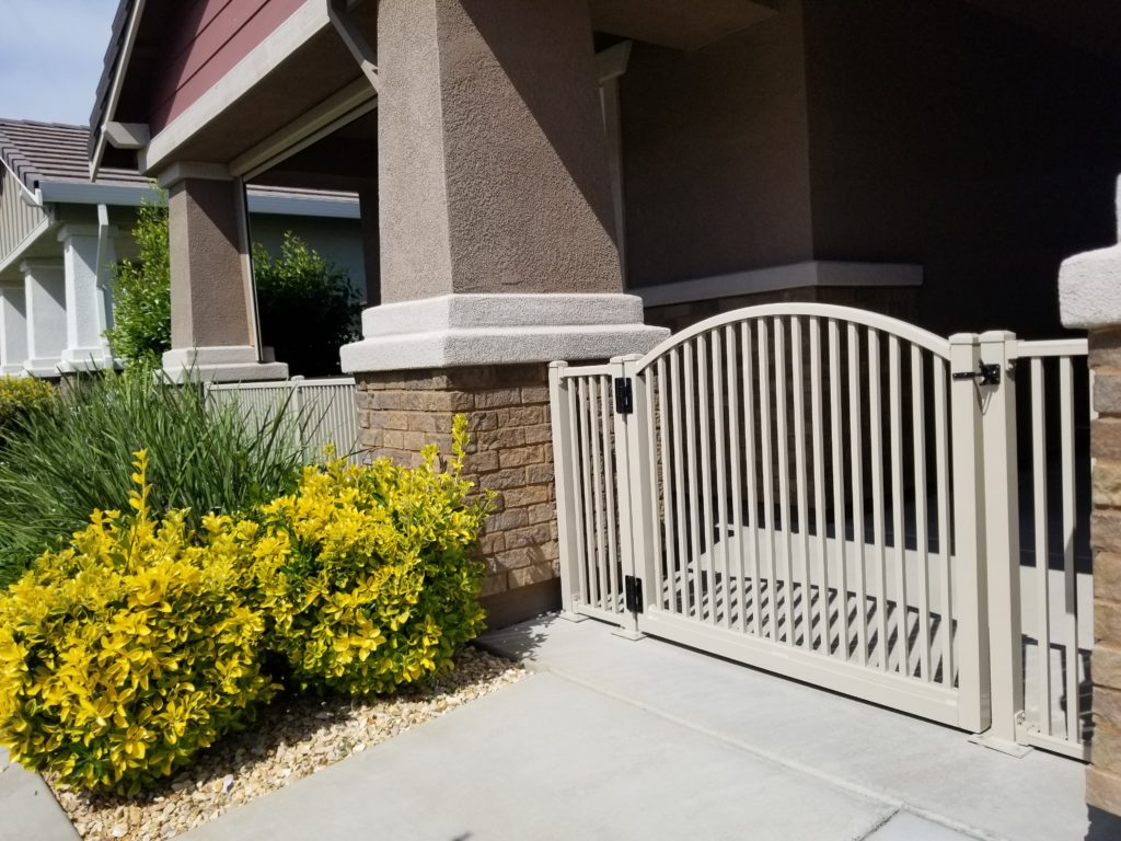 Beige Aluminum Fence – Royale Spacing with Arched Gate
