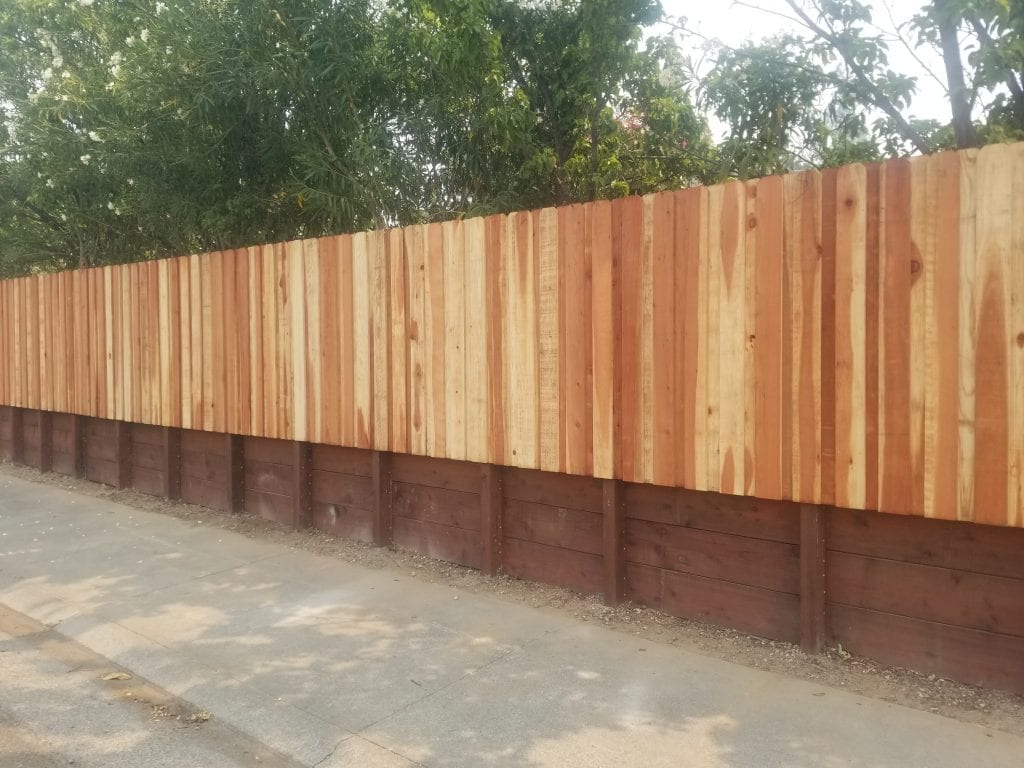 Board on Board Dog Ear Fence on top of Retaining Wall – 2